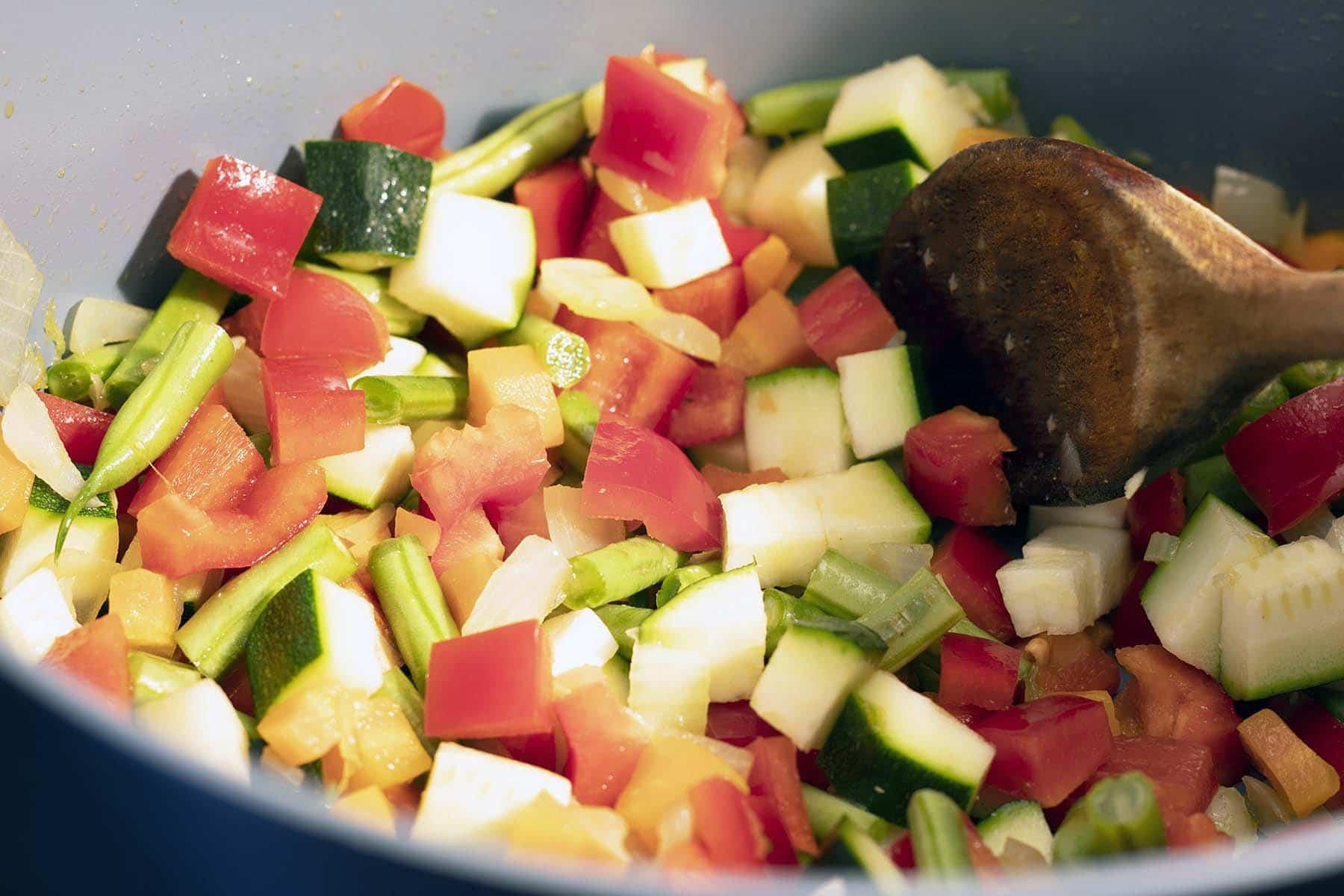 vegetables cooking in pot