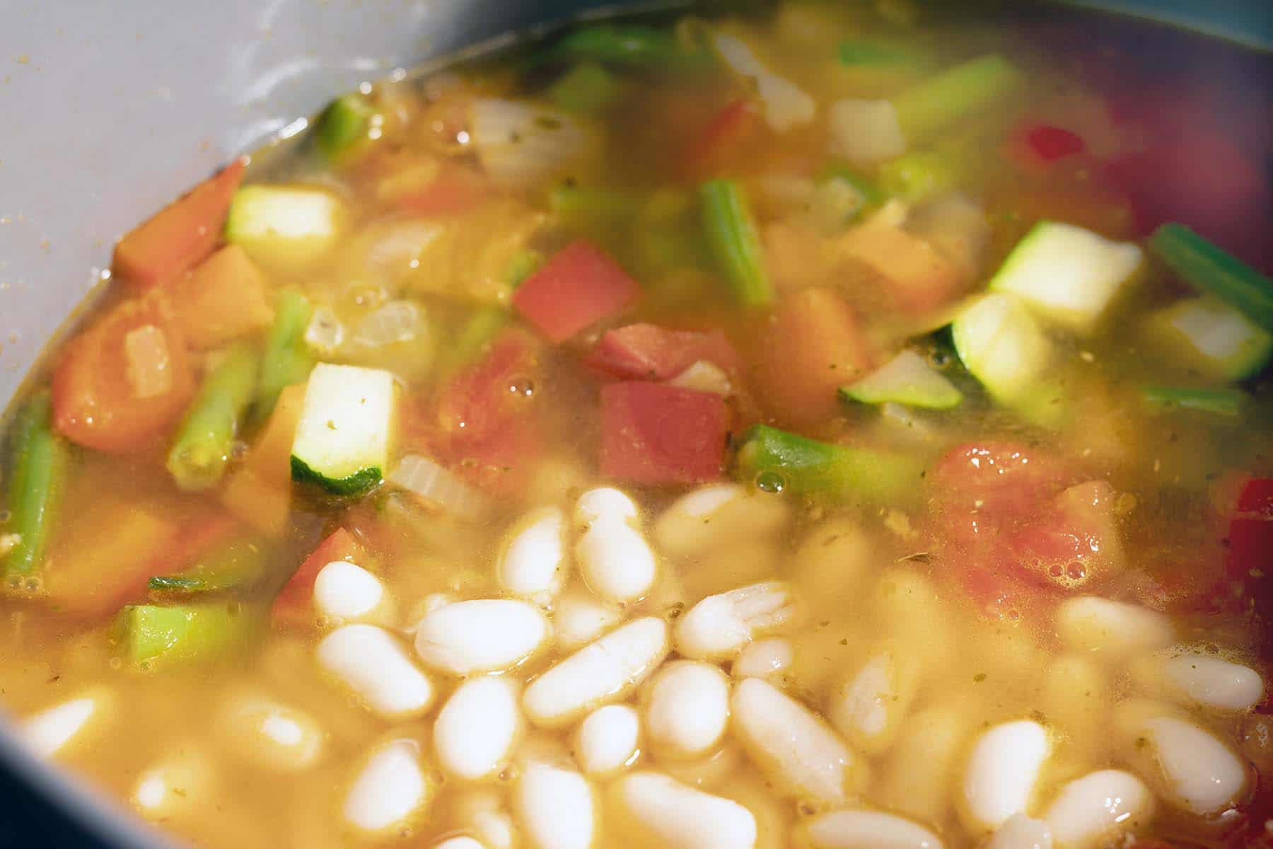 minestrone soup cooking in pot