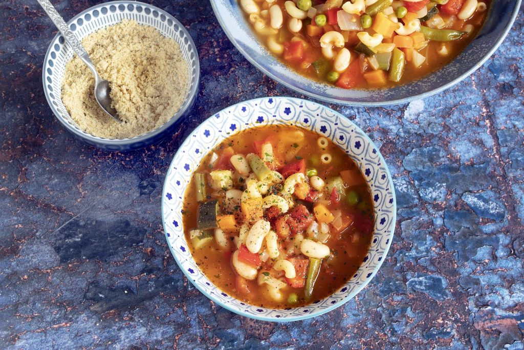 vegetarian minestrone soup in bowl