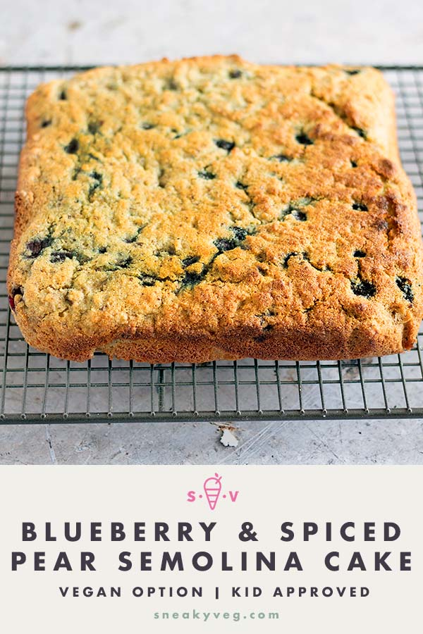 spiced pear and blueberry semolina cake
