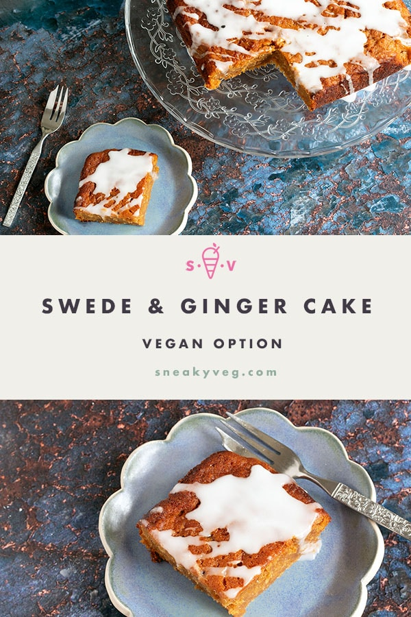 two separate photos of swede cake