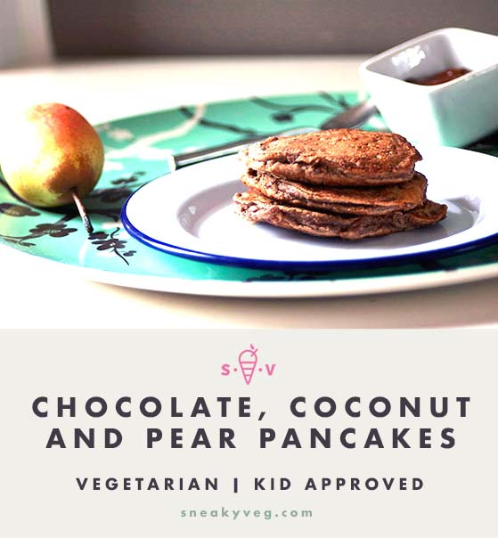 Coconut, chocolate and pear pancakes recipe by Sneaky Veg