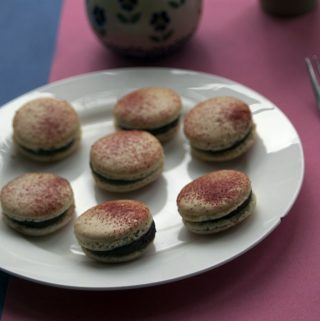chocolate and beetroot macaron