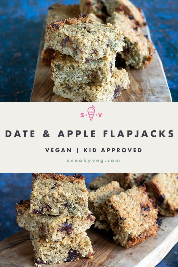 two photos of date and apple flapjacks on wooden board