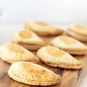 sweetcorn empanadas on wooden board