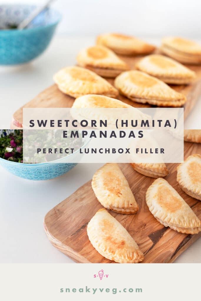 sweetcorn empanadas on board with chimichurri sauce in bowl