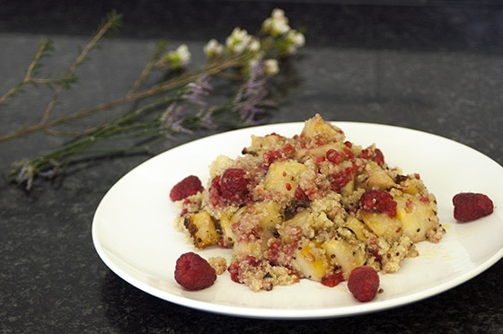honey roasted celeriac salad with quinoa and raspberries