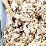 close up of coconut granola