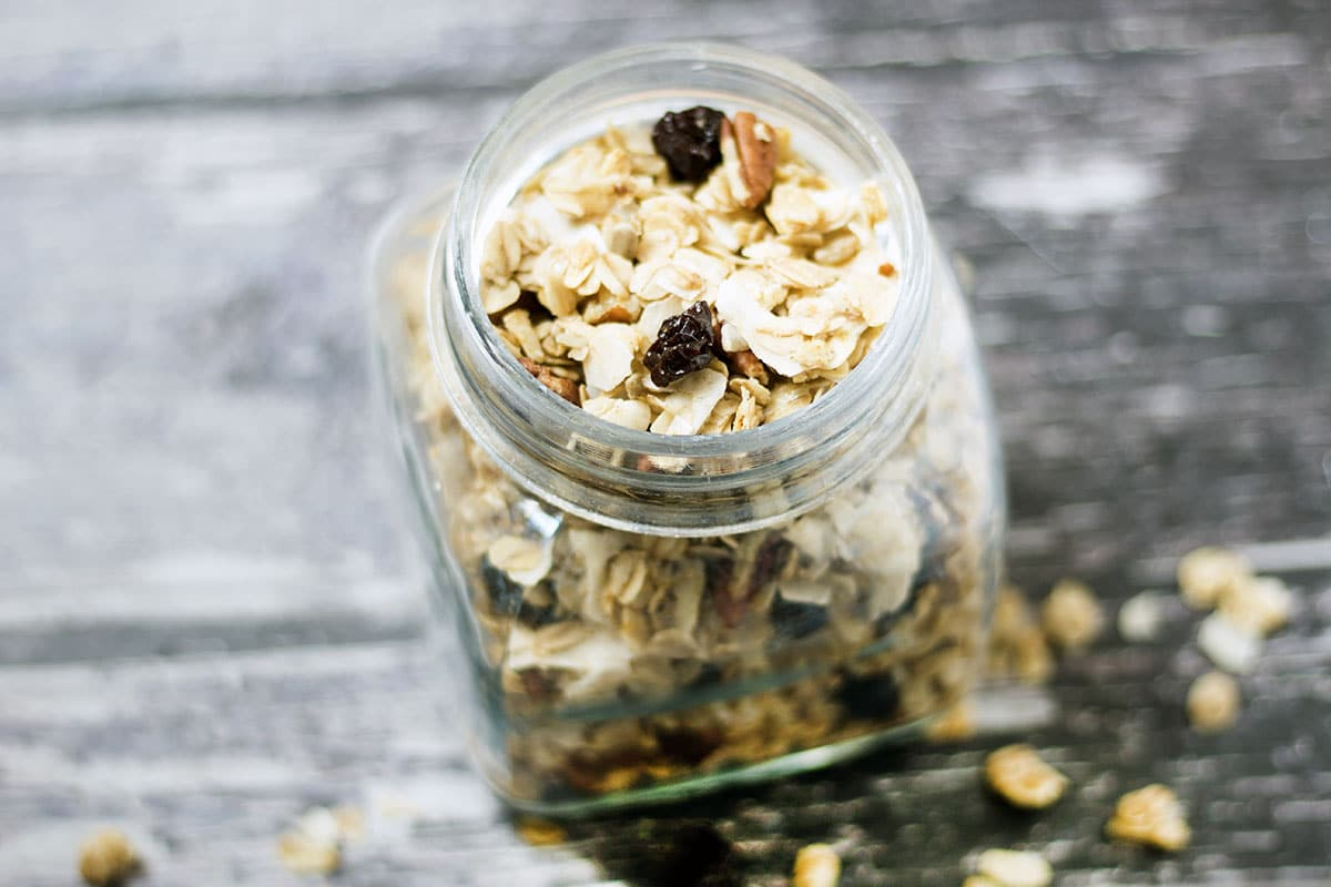 vegan coconut granola in jar