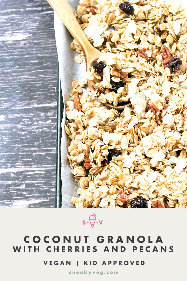 coconut granola on baking tray