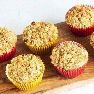 rhubarb muffins on wooden board