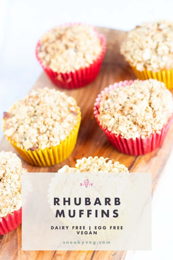 rhubarb and ginger muffins in colourful muffin cases