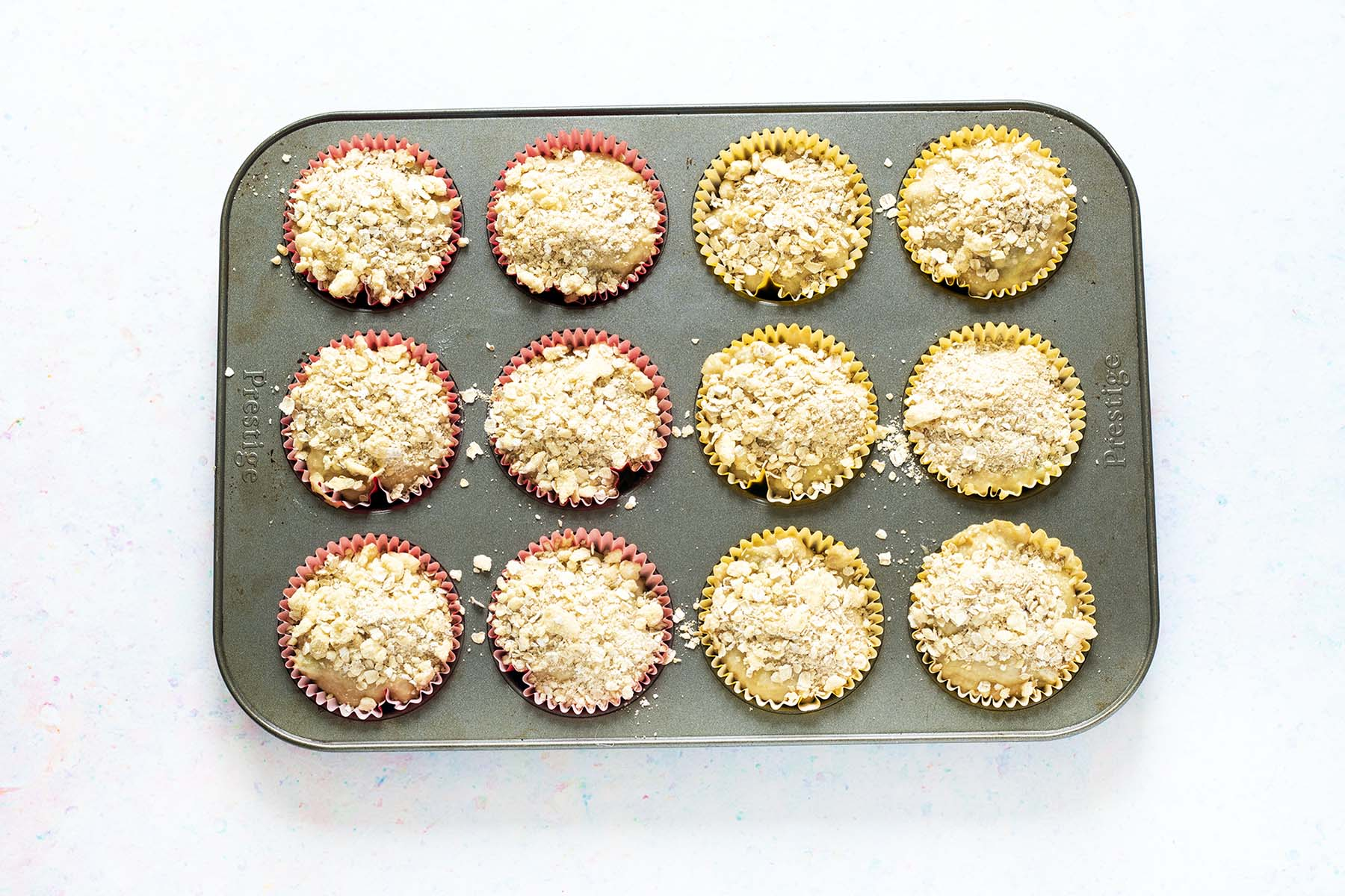 rhubarb muffins in muffin tray