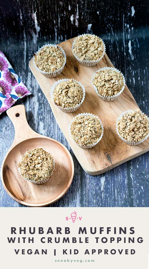 vegan rhubarb and ginger muffins on board