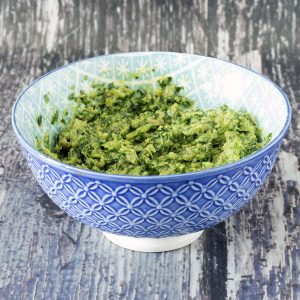 bowl of pesto made from wild garlic