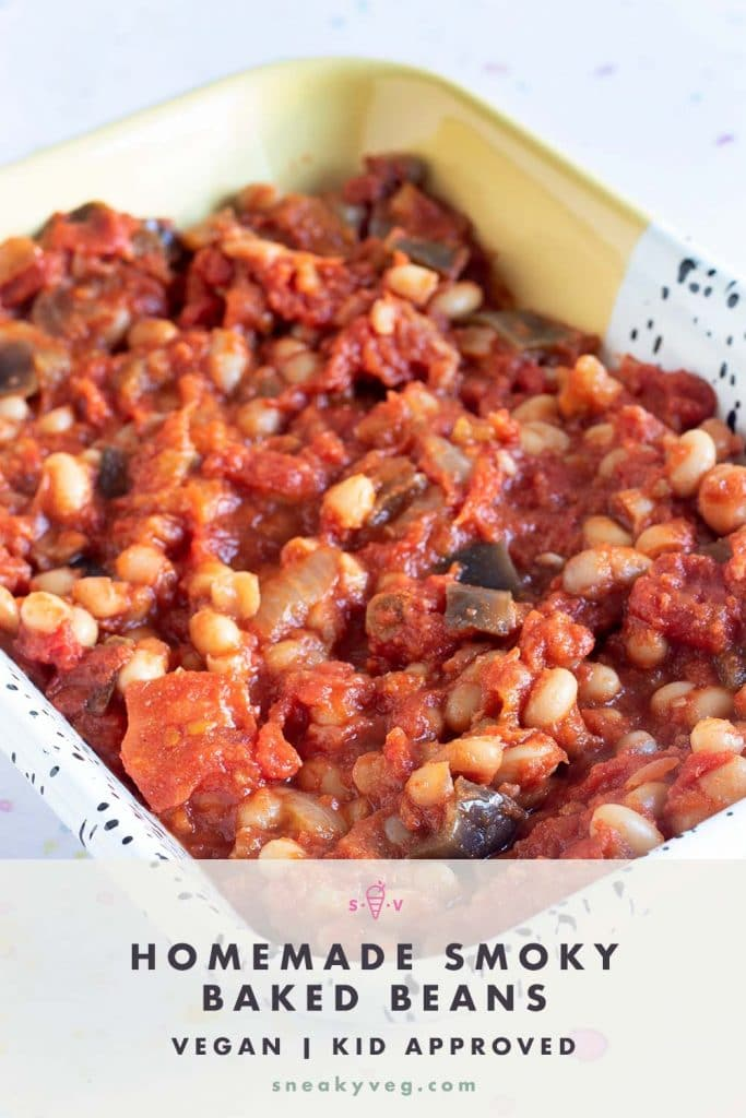 smoky baked beans with aubergine in dish