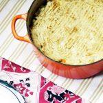vegan shepherd's pie in orange le creseut pan