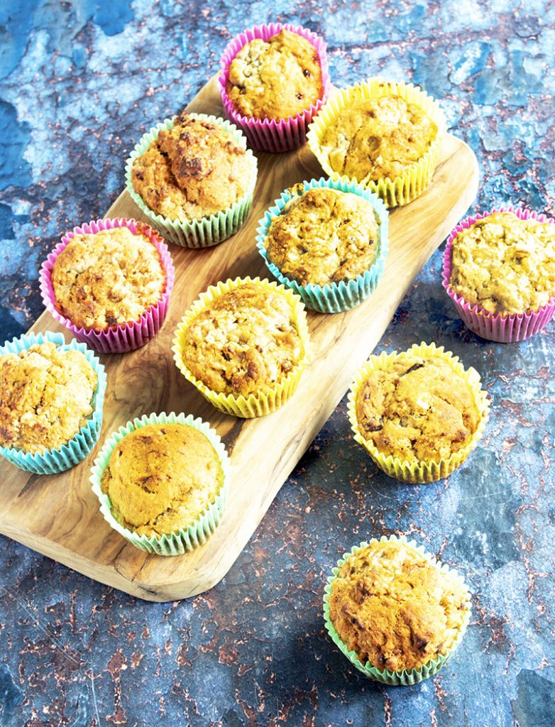 banana and almond muffins in colourful cases