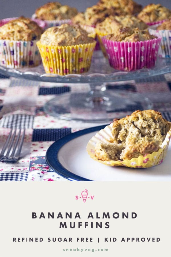 banana almond muffins on cake stand