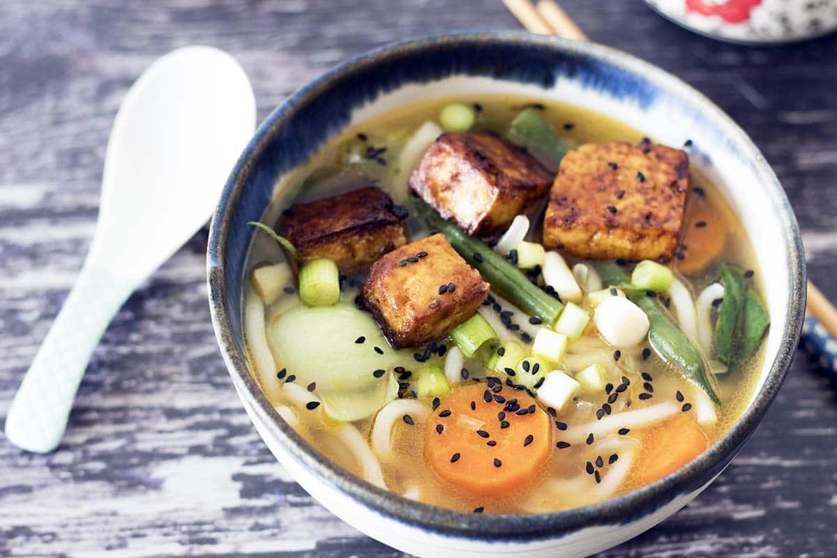 vegan miso udon noodle soup