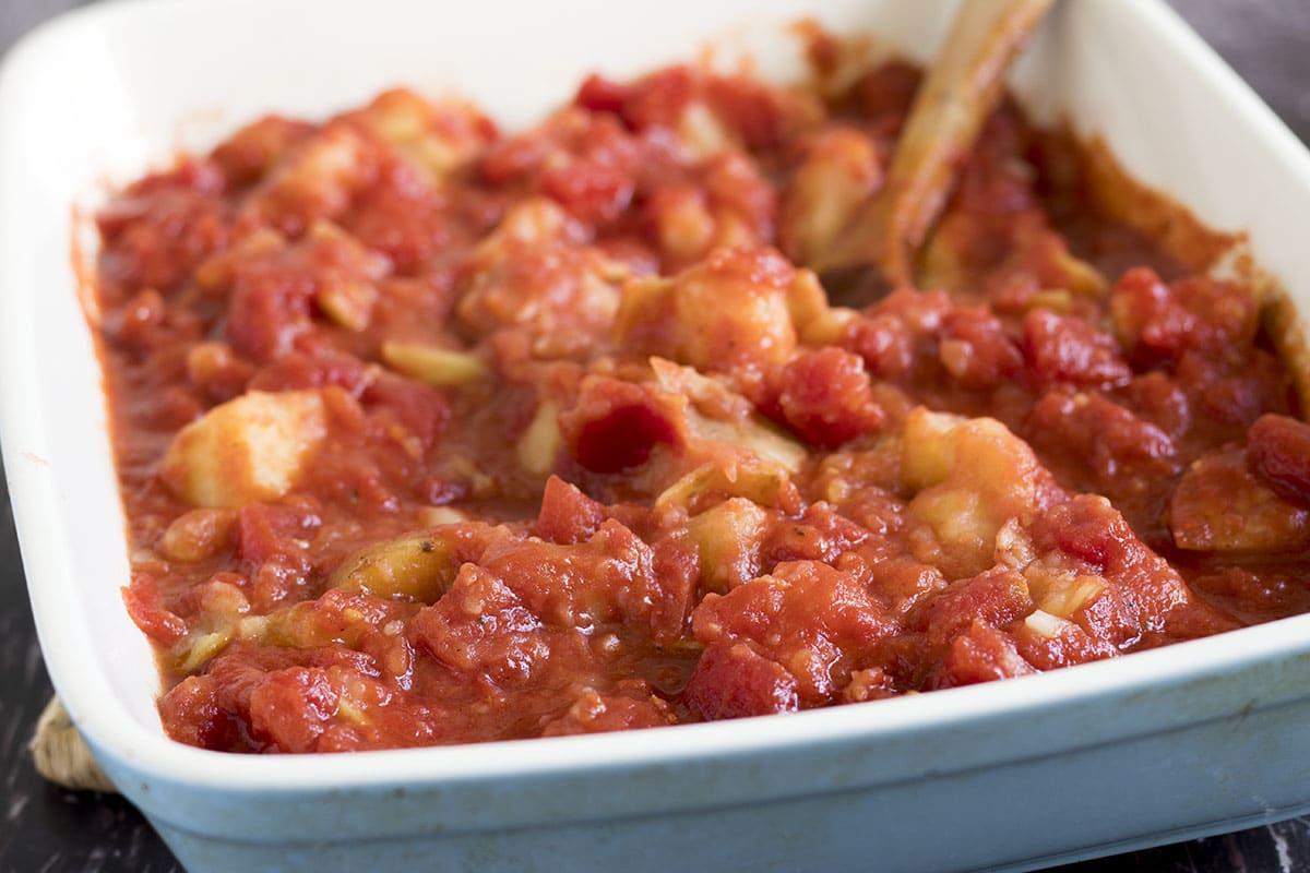 patatas bravas close up in dish