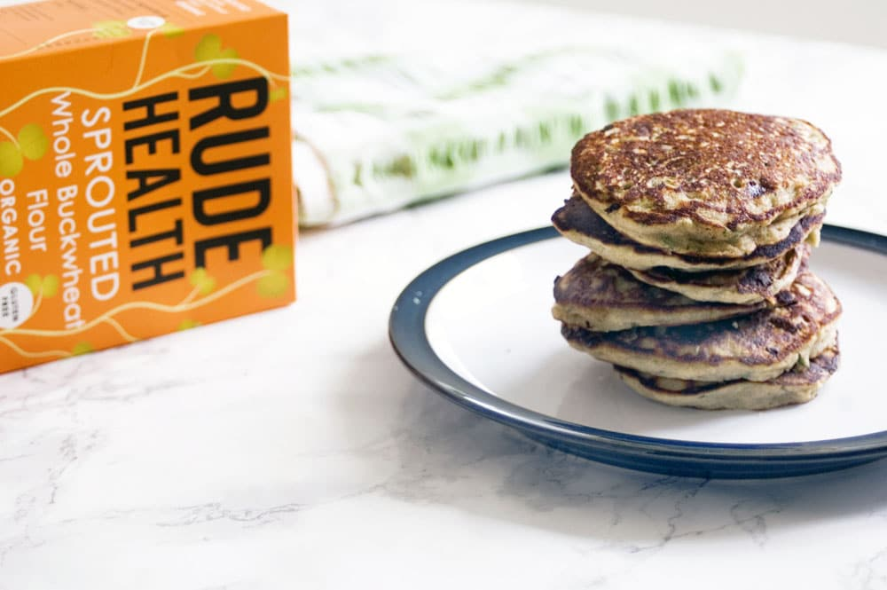 courgette banana buckwheat pancakes with Rude Health buckwheat flour box