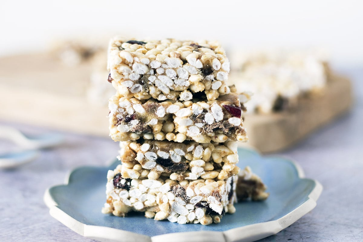 stack of puffed rice freezer bars on plate