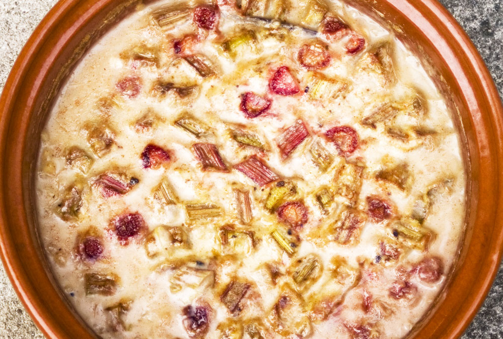 strawberry and rhubarb oven baked risotto