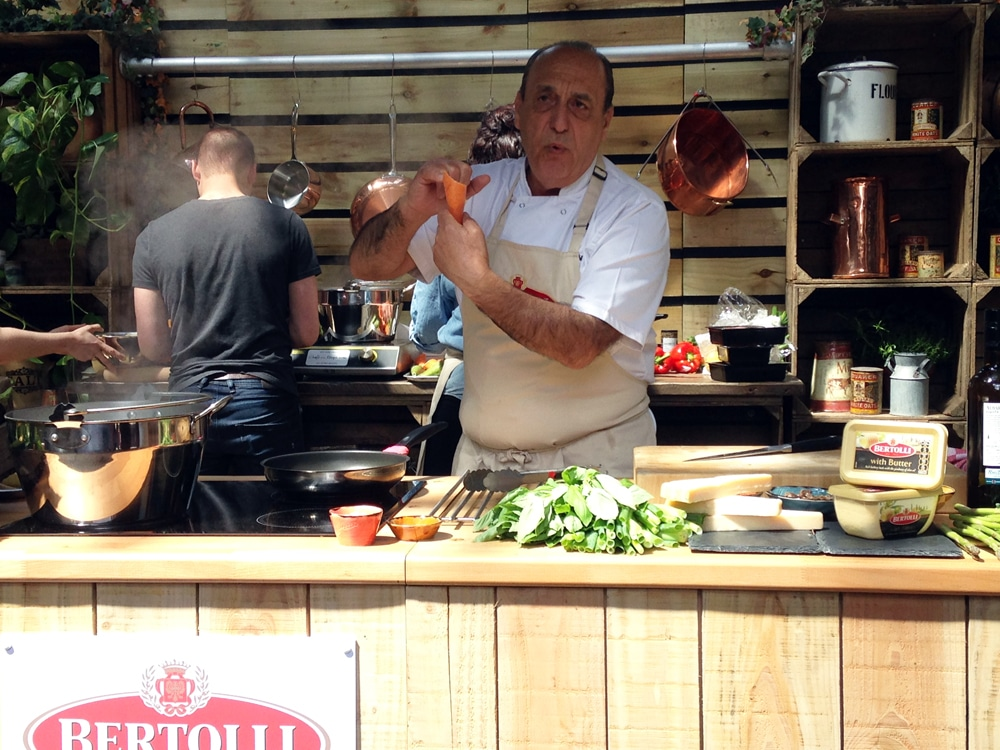 Gennaro Contaldo demonstrates the Bertollini: a  new pasta shape from Bertolli