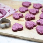 cashew raspberry oat bites cut into heart shapes