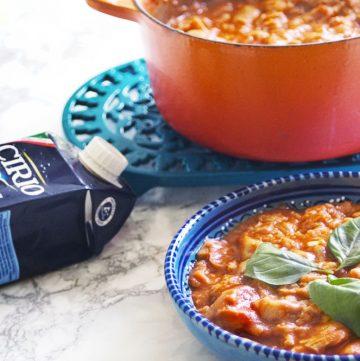 pappa al pomodoro - tomato and bread soup - and carton of cirio tomatoes