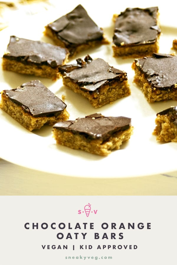 oaty chocolate orange bars on white plate