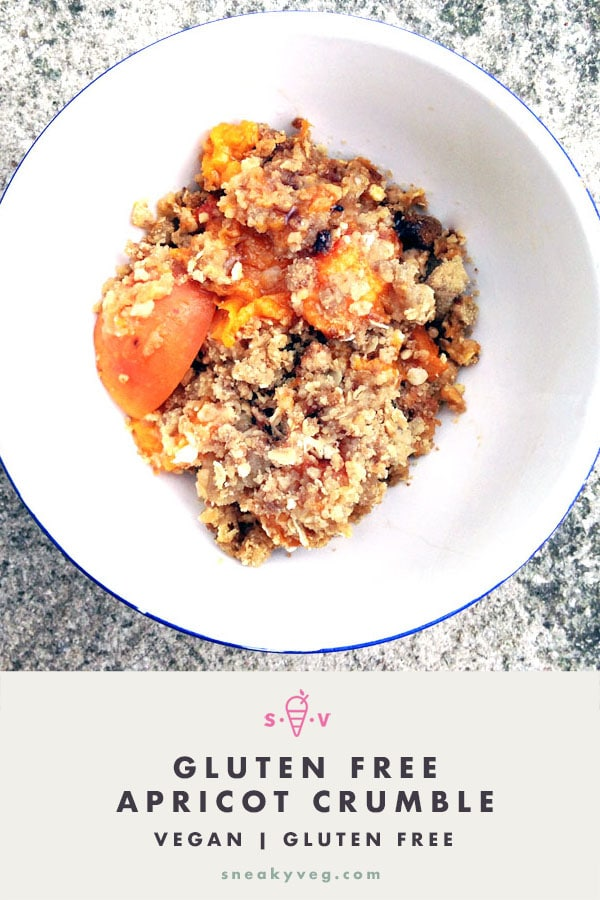 gluten free apricot crumble in white bowl