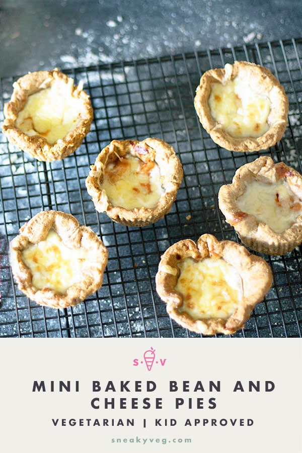 mini baked bean and cheese pies on cooling rack