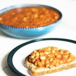 stovetop baked beans in bowl and on toast by sneaky veg