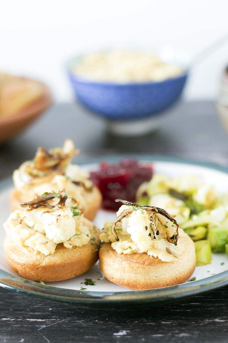 vegetarian stuffed yorkshire puddings with pease pudding, onions and roasted cauliflower