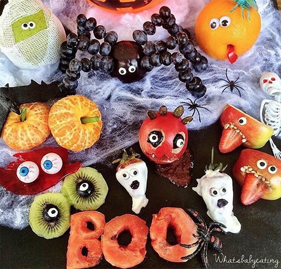 Scary Fruit Platter by What's Baby Eating - healthy halloween treats
