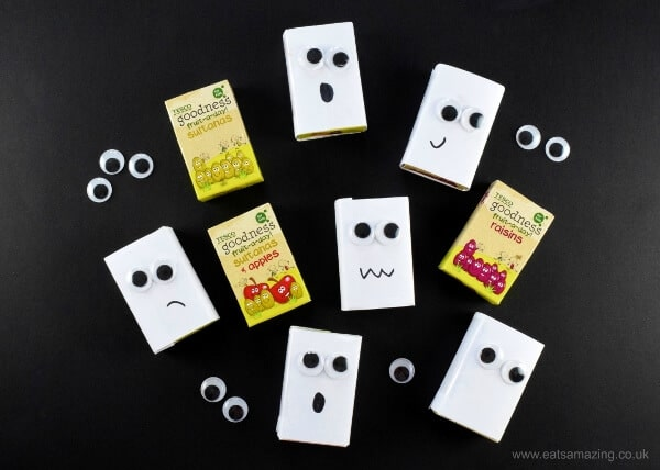 ghost raisin boxes by Eats Amazing - healthy halloween treats