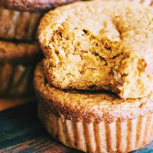 almond coconut pumpkin muffins by moon and spoon and yum - healthy halloween treats