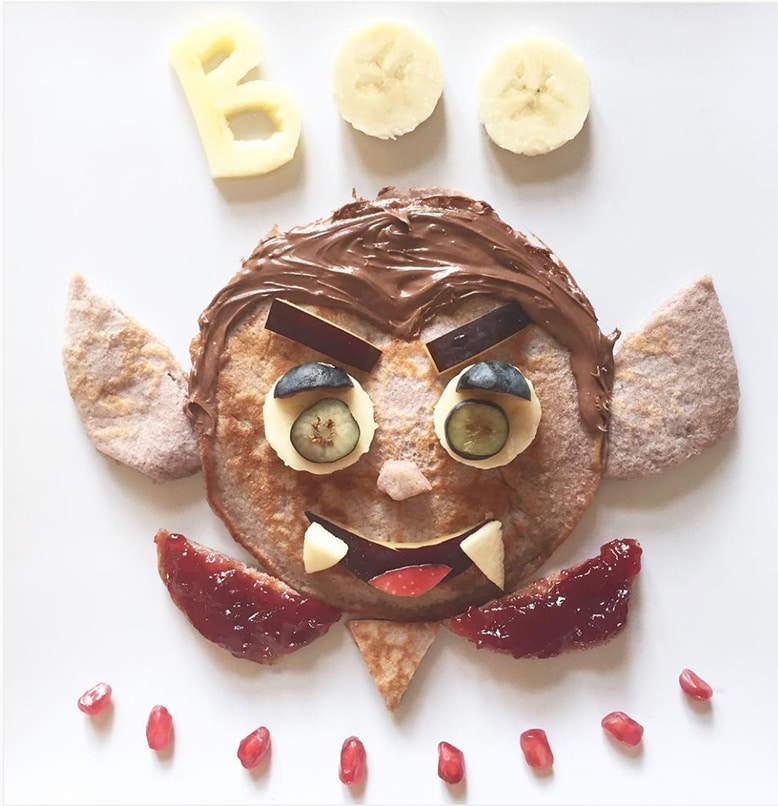 vampire pancake by Mama Makes Pancakes - healthy halloween treats for kids