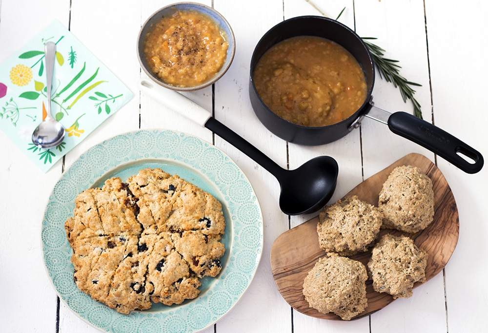 vegan breads - rosemary garlic soda bread rolls and sundried tomato olive scone round