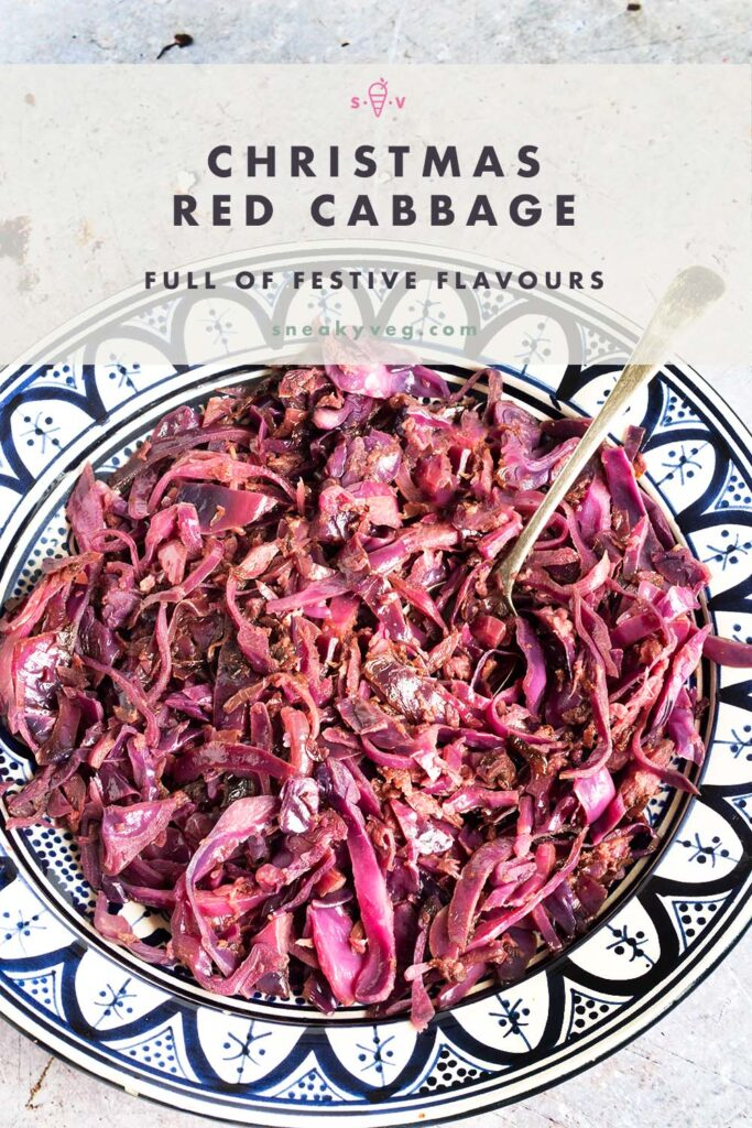 Christmas red cabbage in blue and white bowl
