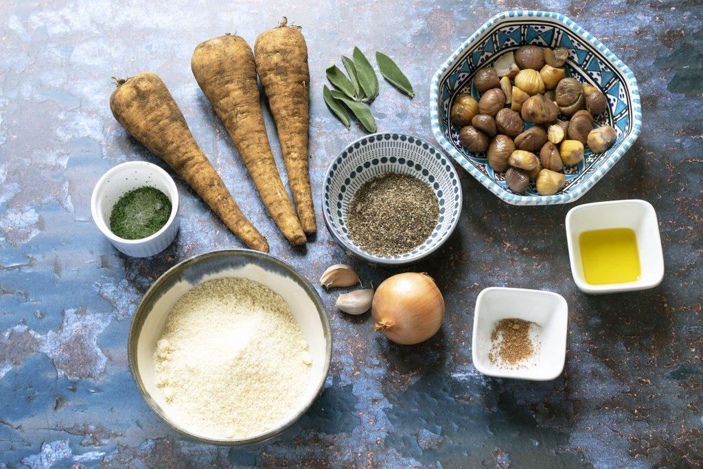 Ingredients for parsnip Christmas nut roast