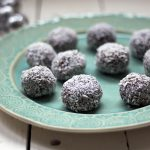 Raw pecan, cranberry and chocolate snowballs