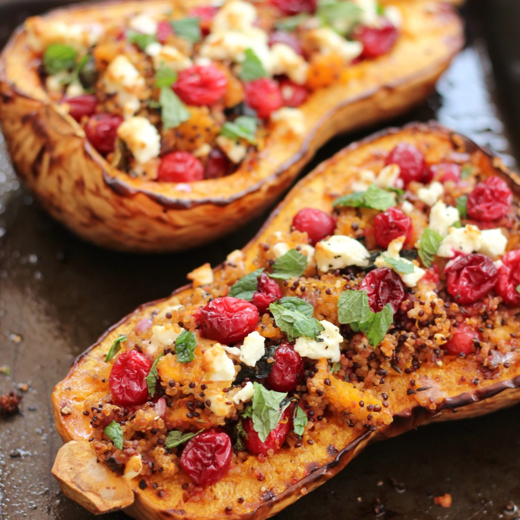Cranberry, Feta and Quinoa Stuffed Butternut Squash - vegetarian roast dinner by Easy Peasy Foodie