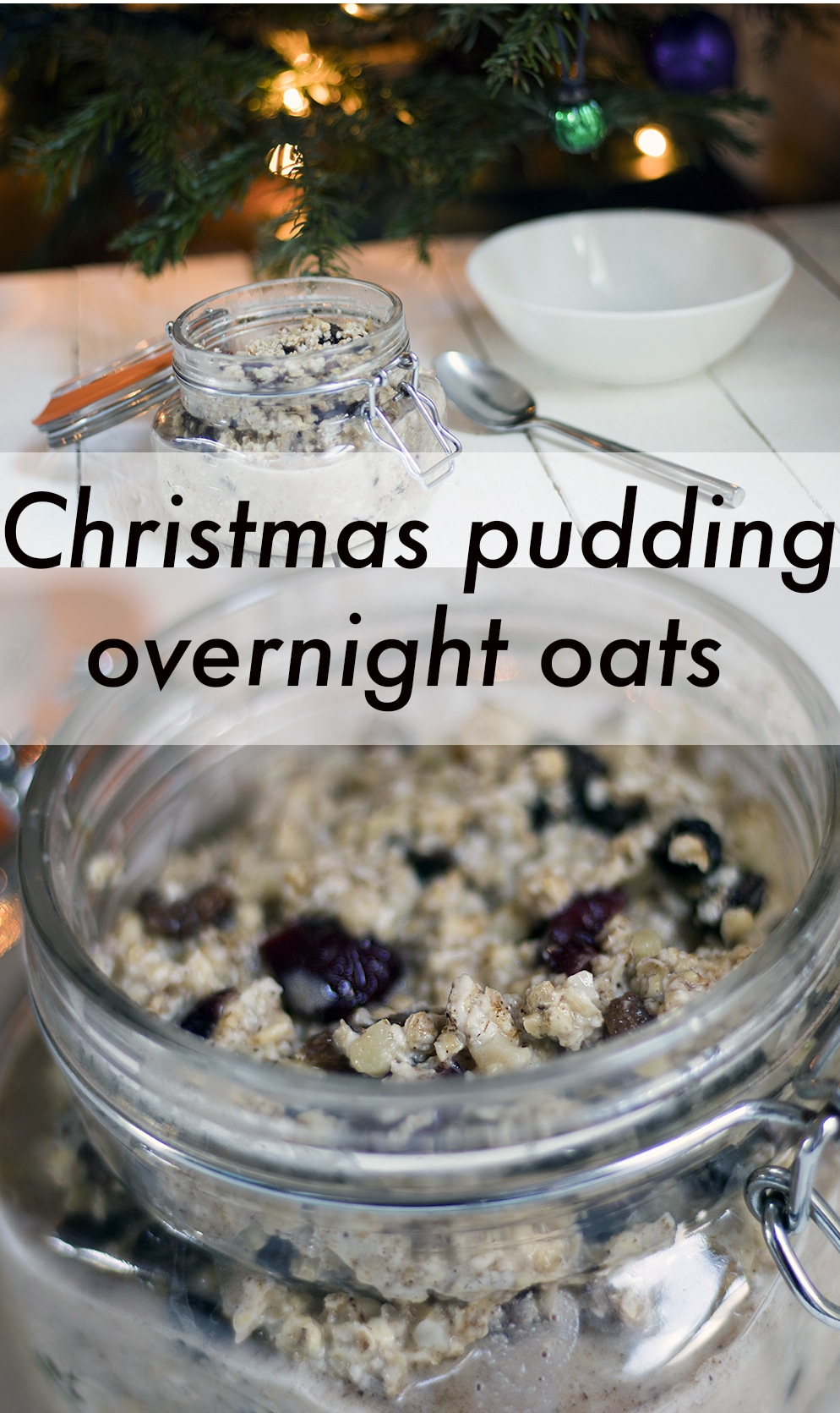 Christmas pudding spiced cinnamon overnight oats