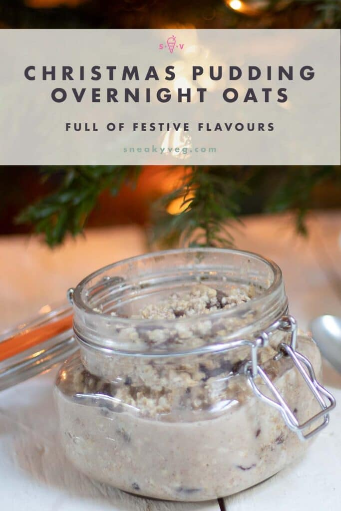 christmas flavoured overnight oats in kilner jar and christmas tree