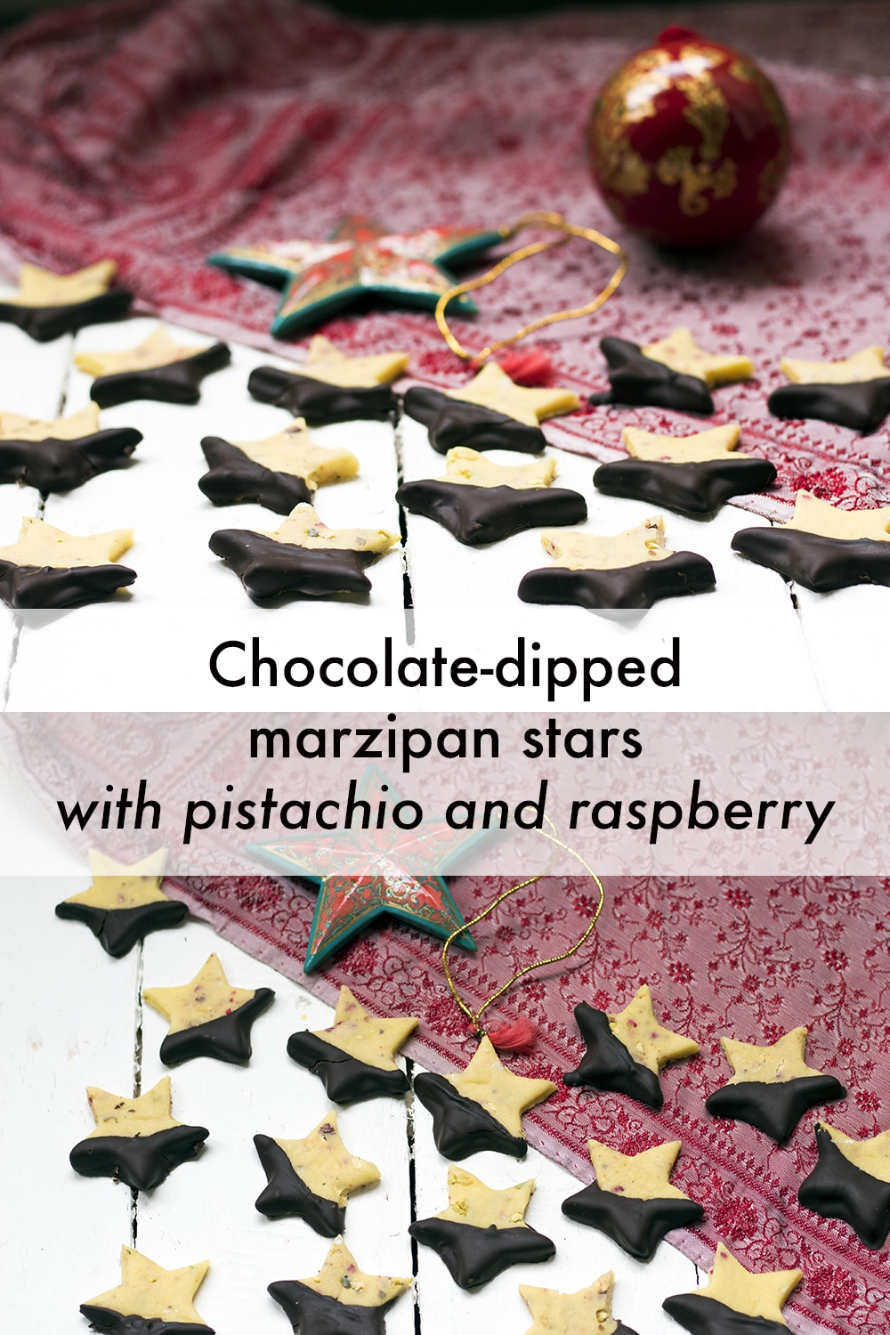 chocolate-dipped Christmas marzipan stars