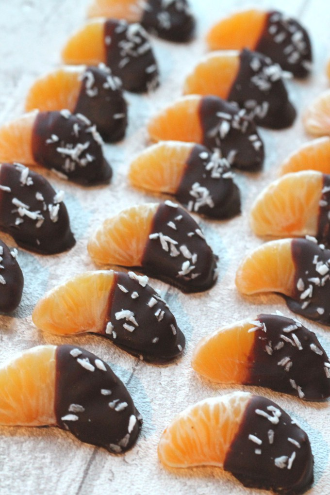 chocolate dipped satsumas - healthy kids party food