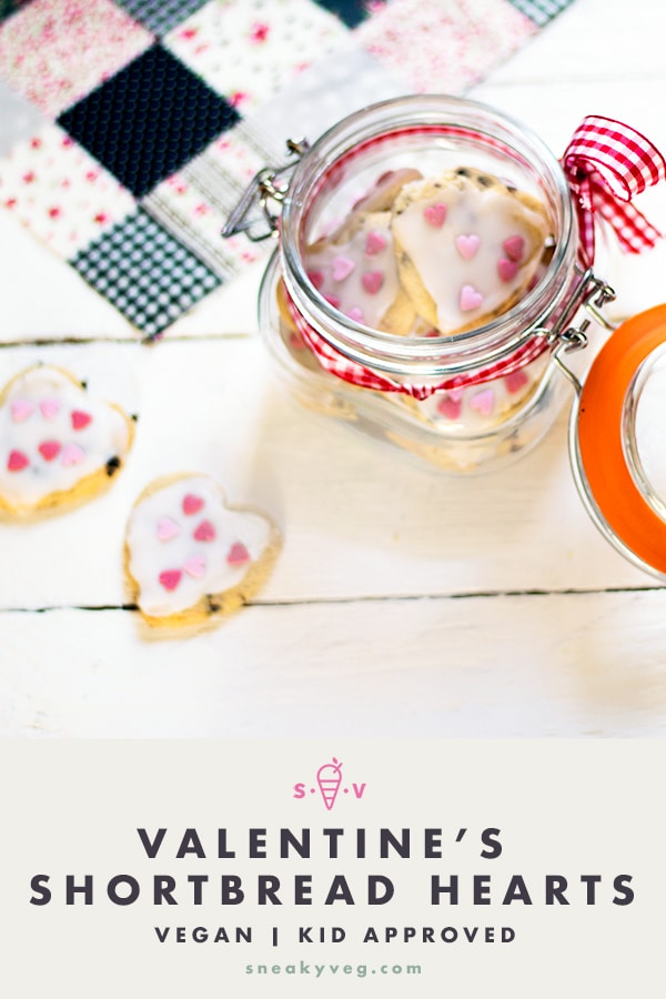 vegan shortbread hearts in jar